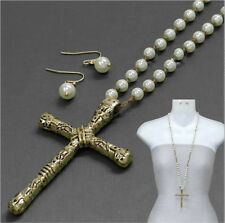 Long Knotted Pearl Bead Large Gold Rustic Cross Necklace Brown Cord