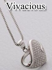 18K White Gold GP Crystal Elements Heart Pendant Necklace