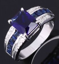 Fashion Size 9 Emerald Cut Men Women Wedding Blue Topaz 18K Gold Filled Ringss