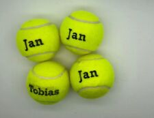 4 Printed Yellow Tennis Balls Mixed Names Over Order