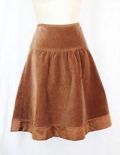 BCBG $148 Skirt 6 SMALL Brown Circle A Line Yoke Velour Max Azria Cotton Stretch