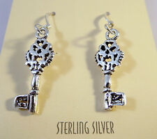 .925 Sterling Silver Antique Type SKELETON KEY EARRINGS Dangle/Drop NEW 925 NV12