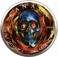 """$5 Canada 1 Oz Silver Maple Leaf """"Maple Skull"""" .9999 Fine One of 50 In Stock!"""