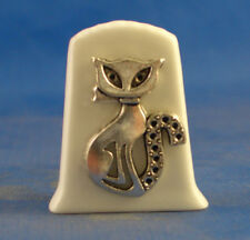 Birchcroft China Thimble  -- Cameo Antique Silver Cat with Free Gift Box