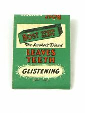 Scarce 1930s Boost Tooth Paste Smoker's Friend Matchbook TavernTrove
