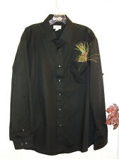 HAGGAR 17.5 34/35 Black Button Down Shirt Long Sleeve NWOT