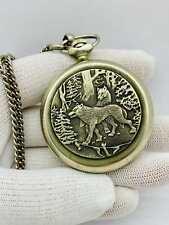MOLNIJA Wolves Soviet Pocket Watch Mechanical Nickel RARE Gift to the hunter VTG