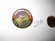 VINTAGE THE HOME DEPOT Kids Workshop Lapel Pin BADGE Wood Truck Crayon Holder