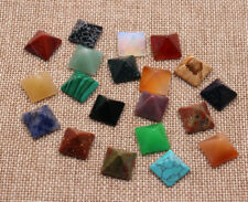 Wholesale 20pcs Natural Stone Square Pyramid CAB Cabochon Mixed Color Beads 14mm