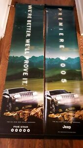 """2 x Jeep Grand Cherokee 2005 Banners Roll Up Flags approx 17"""" x 70"""""""