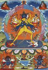 24Inch Tibetan Thangka Buddhist Kalachakra Vajra in Yab Yum Silk Brocade Printed