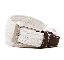 Tommy Bahama Men's Big Tall Braided Stretch Textile Leather Belt White 4XL New