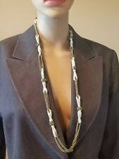 Fossil necklace old tone chain w/ cream rope gold roses