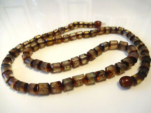 Baltic amber necklace Men's polished green