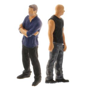 2Pcs 1:64 Painted Plastic Mini Scenario People Doll Toys for Street Diorama