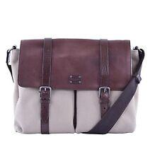 DOLCE & GABBANA Big Canvas Leather Messenger Shoulder Bag Brown Beige 05297