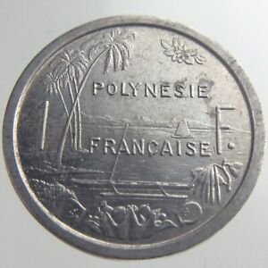 1965 French Polynesia One 1 Franc Aluminum KM 2 Seated Liberty Island Coin U236