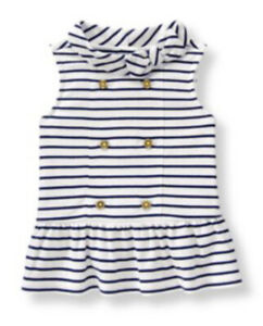 Janie and Jack Girls White & Navy Striped Collar Top w/Gold Buttons Size 5 New