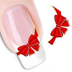 Nail Art Sticker Water Decals Transfer Stickers Red Ribbons (XF1365)