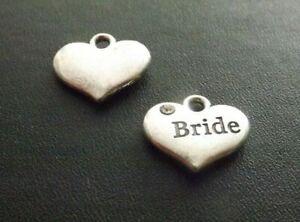 Bride Rhinestone Pendant Charm Antique Silver Tone Wedding Jewellery Pack of 10