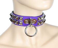 Studded O Ring Bondage Choker Purple Patent Punk Goth  Cosplay Fetish Collar