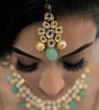 Indian Bollywood Bridal Grape Green & Gold Small necklace, earring & Maangtikka
