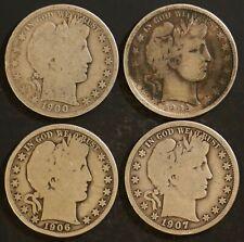 Circulated Barber Half Dollar Coin Lot (4) -  1900,1902,1906,1907 - Lot BH10