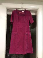Boden Pink Hampshire Velvet Women's Size 6L Short Sleeve Dress Pockets