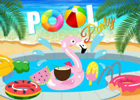 Pool Party Cartoon Decor Indoor Photography Background Studio Photo Backdrop LB