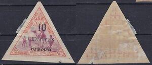 SOMALI COAST 1902 Sc-32(YT-33) 10c-10F ORANGE & LILAC Triangle MH OG