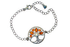 925 Sterling Silver Tree of Life Bracelet Natural Baltic Amber Jewellery Jewelry