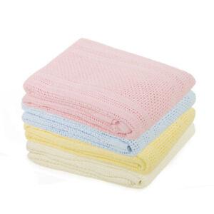 2 Pack 100%Cotton Cellular Blanket Travel Cot, Pram,Stroller, Moses Basket Crib.