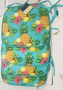 SET OF 4 THIN KITCHEN CUSHION CHAIR PADS, SUMMER TROPICAL FRUITS, PINEAPPLES, GR