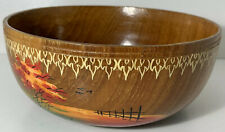 WOODEN BOWL WITH PAINTED SCENERY DESIGN SWEET POTPOURRI DISH