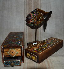 Box Set 2pc  with sliding drawers and Fish with Bead-work  recycled wood 22x8cm