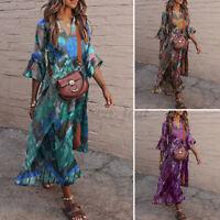 UK 8-24 Ladies V Neck Dress Floral Casual Loose 3/4 Sleeve Womens Dress Plus