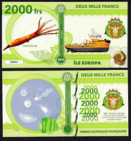 RARE ★ ILE EUROPA ● TAAF / COLONIE ● BILLET POLYMER 2000 FRANCS ★ N.SERIE 000001