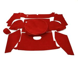 11 Piece Boot Carpet Set. Red - High Quality (fit to MG MGB Roadster)