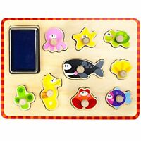 Professor Poplar's Puzzle Stampers Marine Life Wooden Jigsaw Board with Inkpad
