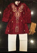 4 Age Size Boy Kurtha Indian Costume Sherwani Bollywood Suit Burgundy Maroon