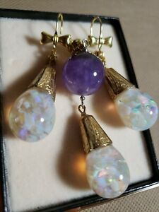 #771 Large Floating Opal Earrings, Pendent With Amethyst Set