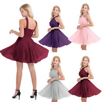 Womens Chiffon Criss-Cross Evening Party Dress Prom Bridesmaid Tulle Short Dress