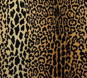"BALLARD DESIGNS SERENGETI CAMEL LEOPARD VELVET FABRIC BY THE (0.5)1/2 YARD 54""W"
