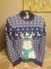 Adorable Llama Ugly Christmas Sweater Furry Fun Red And Green Size Medium M