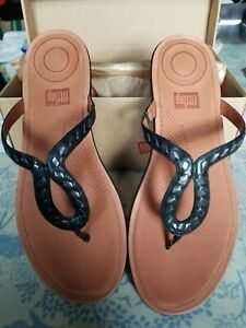 Ladies Black Strata Sandals (Fitflop) Size 7 Leather Sole *New in Box* RRP £80