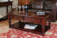 La Roque Dark Wood Coffee Table With 2 Drawers Storage Solid Mahogany