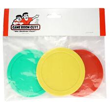"Air Hockey Table Pucks - 3-1/4"" - Yellow Green Red - Set of 3"