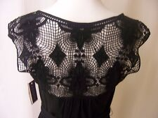 Velvet Graham and Spencer Black Cotton Dress with Lace Women's NWT