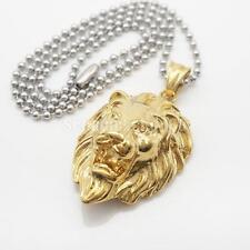 Edelstahl Männer Halskette Schmuck Löwenkopf Anhänger Geschenk Gold
