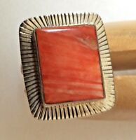 Spiny Oyster Shell Ring Size 9 Sterling Silver Sunburst Handmade 15g
